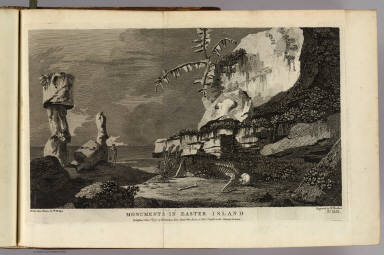 Monuments in Easter Island. Drawn from nature by W. Hodges. Engraved by W. Woollett. No. XLIX. Published Feb. 1st, 1777 by W. Strahan, New Street, Shoe Lane & Thos. Cadell in the Strand, London.