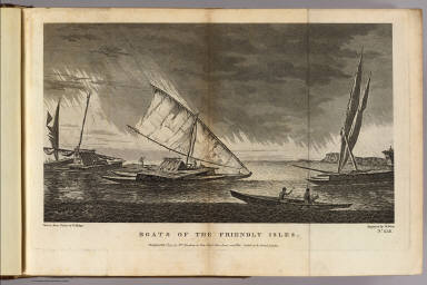Boats of the Friendly Isles. Drawn from nature by W. Hodges. Engraved by W. Watts. No. XLII. Published Feb. 1st, 1777 by Wm. Strahan in New Street, Shoe Lane and Thos. Cadell in the Strand, London.