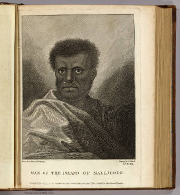 Man of the island of Mallicolo. Drawn from nature by W. Hodges. Engrav'd by J. Caldwall. No. XLVII. Publish'd Feb. 1st, 1777 by W. Strahan in New Street, Shoe Lane, and Thos. Cadell in the Strand, London.