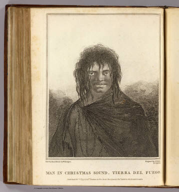 Man in Christmas Sound, Tierra del Fuego. Drawn from nature by W. Hodges. Engrav'd by J. Basire. No. XXVII. Published Febry. 1st, 1777 by Wm. Strahan in New Street, Shoe Lane & Thos. Cadell in the Strand, London.