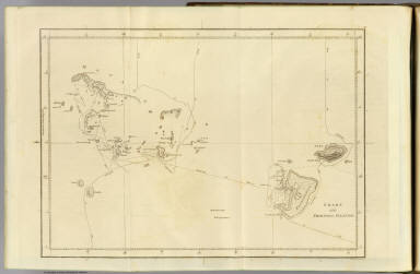 Chart of the Friendly Islands. Writing by W. Harrison. (By William Bligh and James Cook. London, G. Nicol and T. Cadell, 1785)