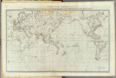 A general chart: exhibiting the discoveries made by Captn. James Cook in this and his two preceding voyages, with the tracks of the ships under his command. By Lieut. Heny. Roberts of his Majesty's Royal Navy. W. Palmer sculp. (London, G. Nicol and T. Cadell, 1785)