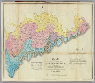 Map of the inhabited part of the State of Maine, exhibiting the progress of its settlement since the year 1778, the Representative Districts since the year 1820, and the population and valuation of taxable property in each District at the year 1820. By Moses Greenleaf. Engraved by William Chapin, N.Y. for Greenleaf's Survey of Maine, 1828. Published by Shirley & Hyde, Portland, 1829.