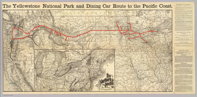 The Yellowstone Park and dining car route to the Pacific Coast. Rand, McNally & Co., Engr's, Chicago. (inset) Map of the Northern Pacific Rail Road and connections.