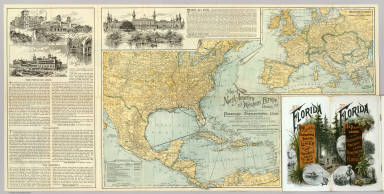 Map of North America and Western Europe showing the direct passenger transportation lines between Europe and the United States, Mexico, the West Indies, Central and South America, also illustrating the geographical position of Florida and location of the railroad, steamboat and steamship lines ... For commerce with other states and the countries south and east of the Gulf of Mexico. Copyright, 1889. Matthews, Northrup & Co. ... (inset map) Western Europe showing railways and steamship routes to America.