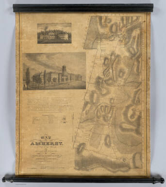 A map of Amherst. With a view of the College and Mount Pleasant Institution. By Alonzo Gray & Charles B. Adams. Amherst College, May 1833. Pendleton's Lithography, Boston.