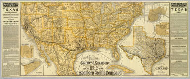 Correct map of the railway & steamship lines operated by the Southern Pacific Company. (with) County map of Texas showing the Atlantic System of the Southern Pacific Company. (with) New Orleans. (with) Houston, Texas. (with) San Antonio, Texas. (with) Galveston, Texas. (1884)