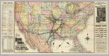Map of the South West Railway System. Missouri Pacific Ry., Central Branch U.P. R.R., Missouri, Kansas & Texas Ry., Texas and Pacific Ry., St. Louis, Iron Mountn. and Southern Ry., International & Great Northern R.R., St. Louis, Ft. Scott & Wichita R.R. and their connections. Copyright, 1886, by Rand, McNally & Co., Map Publishers, Chicago ...
