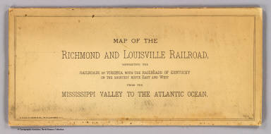 (Covers to) Map of the Richmond and Louisville R.R. connecting the railroads of Virginia with the railroads of Kentucky on the shortest route east and west from the Mississippi Valley to the Atlantic Ocean. Engraved, printed and manufactured by G.W. & C.B. Colton & Co. No. 182 William St. New York. Entered ... 1882 by G.W. & C.B. Colton & Co. ... at Washington.
