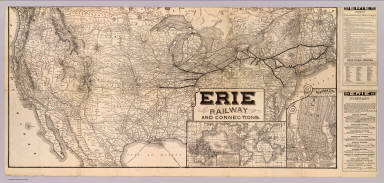 Erie Railway and connections. (inset) Map of New York City & vicinity issued by N.Y.L.E. & W. R.R. (inset) Great American Overland Route between Europe and Australia, China, Japan and India, across the American continent via the New York, Lake Erie & Western R.R. ...