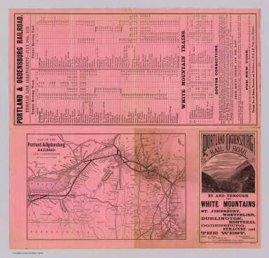 """Map of the Portland & Ogdensburg Railroad and connections. Eng'd by Rand, Avery & Co., Boston. """"7-26-79."""""""