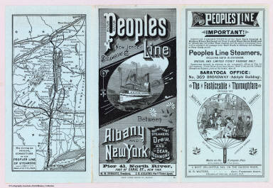 Peoples Line New Jersey Steamboat Co. between Albany and New York. Magnificent steamers Drew, and Dean Richmond ... Rand Avery Supply Co., Boston. (with map) Map showing the principal connections of the Peoples Line of Steamers. Rand, Avery & Co., Eng's. (1885)