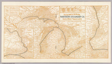 In all the World no trip like this Northern Steamship Co. east and west via the Great Lakes. (inset) St. Mary's River. (inset) Lake St. Clair, Detroit and St. Clair Rivers.