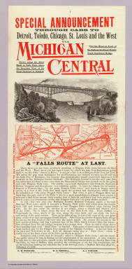 """Special announcement : through cars to Detroit, Toledo, Chicago, St. Louis and the West via Michigan Central. Over the river in front of the falls on the great double track cantilever bridge ... Rand McNally Co. A """"Falls Route"""" at last ... (1884?)."""