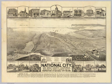 Birds-eye view of National City, San Diego County, California. W.W. Elliott Lith., S.F. Published by Frank P. Burgess and Co., proprietors of National City Record. (1887?)