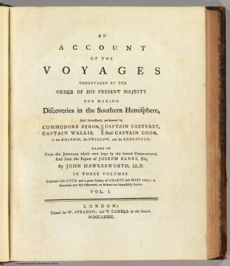 Title Page: Voyages S. Hemisphere. / Hawkesworth, John, 1715?-1773; Cook, James, 1728-1779;   Banks, Joseph, Sir, 1743-1820; Byron, John, 1723-1786 / 1773