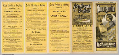 (Text Page to) Nova Scotia excursion route. International Steamship Company. 1888. Digby and Annapolis direct. Summer edition, 1888. Rand Avery Supply Co., Printers, Boston.
