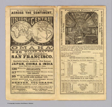 (Covers to) The only great through all rail route is the Union and Central Pacific R.R. line via Omaha ... Rand, McNally & Co., Printers Engravers, etc., 108 West Randolph St., Chicago ... Through time table, in effect January 1, 1872.