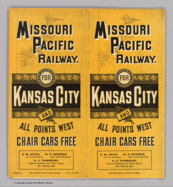 (Covers to) Missouri Pacific Railway. For Kansas City and all points west. Chair cars free ... Rand, McNally & Co., Printers, Chicago.