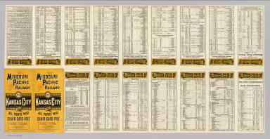 (Text Page to) Missouri Pacific Railway. For Kansas City and all points west. Chair cars free ... Rand, McNally & Co., Printers, Chicago.
