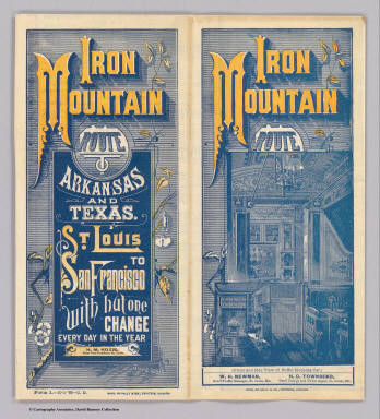 (Covers to) Iron Mountain Route. Arkansas and Texas. St. Louis to San Francisco with but one change every day in the year. Times Eng. ... Form 1.-10-1-'86-C.D. Rand, McNally & Co., Printers, Chicago.