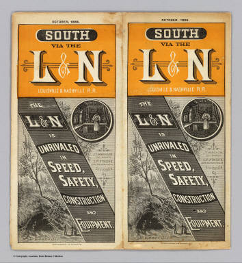 (Covers to) South via the L&N Louisville & Nashville R.R. The L&N is unrivaled in speed, safety, construction and equipment. October, 1886. Courier Journal Eng. Courier-Journal Job Printing.