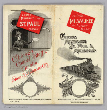 (Covers to) Chicago Milwaukee and St. Paul Railway. Chicago, Milwaukee, St. Paul & Minneapolis ... Electric-lighted and steam-heated vestibuled trains. Rand, McNally & Co., Printers, Chicago.