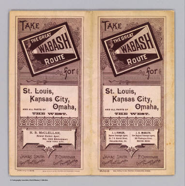 (Covers to) Take the Great Wabash Route for St. Louis, Kansas City, Omaha, and all parts of the West ... July-86. Rand, McNally & Co., Printers and Engravers, Chicago.