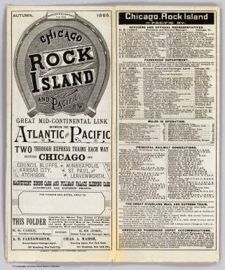 (Covers to) Good luck to all who travel via the Chicago, Rock Island and Pacific Rw. Great mid-continental link between the Atlantic and Pacific ... Autumn, 1885. Cameron, Amberg & Co., Printers, Chicago.