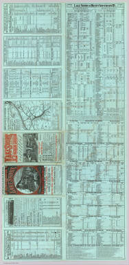 """(Text Page to) Time tables and map, Lake Shore and Michigan Southern Ry. Fast express trains ... reliable through connections with eastern and New England lines, and with all express trains of the New-York Central & Hudson River Railroad, and New-York, Lake Erie & Western R.R. Only route of the Fast Mail to the Western States ... Matthews, Northrup & Co., """"Morning Express"""" Printing House, Buffalo, N.Y."""