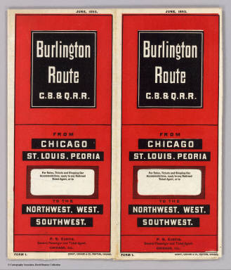 (Covers to) Burlington Route C.B. & Q.R.R. From Chicago, St. Louis, Peoria to the northwest, west, southwest. June, 1893 ... Knight, Leonard & Co. Printers, Chicago.