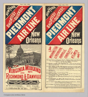 (Covers to) New York, shortest and quickest, Piedmont Air Line, New Orleans, Washington, Lynchburg, Danville, Charlotte and Atlanta. Sept. 15th, 1885 ... C.G. Crawford, Printer and Stationer, 49 & 51 Park Place, N.Y.
