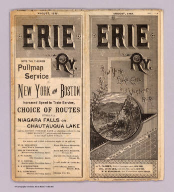 (Covers to) Erie Ry. New York, Lake Erie and Western R.R. August, 1887. Map and time tables inside ... Rand, McNally & Co., Printers and Engravers, Chicago.