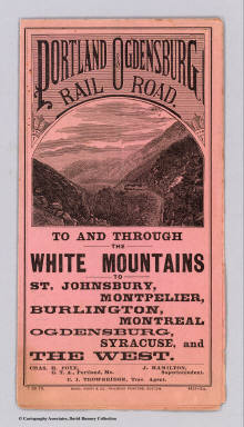 (Covers to) Portland & Ogdensburg Railroad. To and through the White Mountains to St. Johnsbury, Montpelier, Burlington, Montreal, Ogdensburg, Syracuse, and the West ... 7-26-79. Rand, Avery & Co., Railroad Printers, Boston.