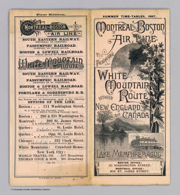 (Covers to) Montreal and Boston Air Line. The picturesque White Mountain Route between New England and Canada via Lake Memphremagog. Summer time-tables, 1887 ... Russell & Richardson Sc. First edition ... R.A. Supply Co., Boston.