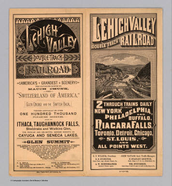 (Covers to) Lehigh Valley double track railroad. 2 through trains daily between New York, Philadelphia, and Buffalo, Niagara Falls, Toronto, Detroit, Chicago, St. Louis, and all points west. Hasford & Sons, N.Y. ... 9-10-85. Daily Times Print, Bethlehem, Pa.