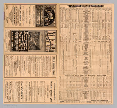 (Text Page to) Lehigh Valley double track railroad. 2 through trains daily between New York, Philadelphia, and Buffalo, Niagara Falls, Toronto, Detroit, Chicago, St. Louis, and all points west. Hasford & Sons, N.Y. ... 9-10-85. Daily Times Print, Bethlehem, Pa.