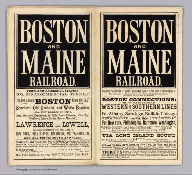 (Covers to) Boston & Maine Railroad ... The only route from the east to Boston via Scarboro, Old Orchard, and Wells Beaches ... Geo. H. Ellis, Pr., Boston.