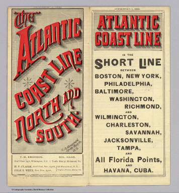 (Covers to) The Atlantic Coast Line north and south ... C.G. Crawford, Printer and Stationer, 49 & 51 Park Place N.Y. September 7, 1885.