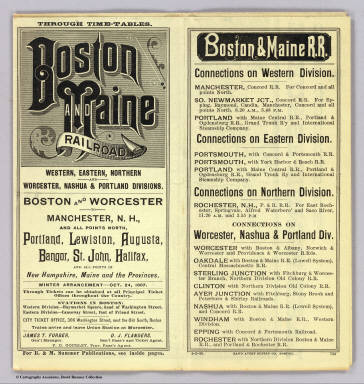 (Covers to) Boston & Maine Railroad. Through time-tables. Western, Eastern, Northern and Worcester, Nashua & Portland divisions. Boston and Worcester to Manchester, N.H. ... Winter arrangement - Oct. 24, 1887 ... 4-2-88. Rand Avery Supply Co. Boston.