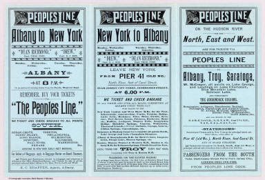 (Text Page to) Peoples Line New Jersey Steamboat Co. between Albany and New York. Magnificent steamers Drew, and Dean Richmond ... Rand Avery Supply Co., Boston.