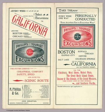 """(Covers to) Phillips Tourist Excursions. 1880. 1896. The Great Rock Island Route. Take The every week one way personally conducted """"From anywhere east to everywhere west."""" Boston, Buffalo, Chicago ... and all points in California and the Pacific Coast ... A. Phillips & Co. ..."""