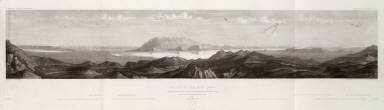 Valley of the Mud Lakes showing eighty two miles of the projected rail road line. June 14th at 9 A.M. from Mud Lake peak. C. Schumann from F.W. Egloffstein. Selmar Siebert's Engraving & Printing Establishment, Washington, D.C. U.S.P.R.R. Exp. & Surveys 41st Parallel. Expl. by Lieut. Beckwith. Vol. II.