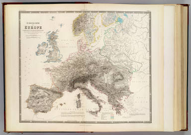 The mountain systems of Europe constructed on the basis of contour lines. From the drawings of Professor Berghaus, Berlin. By A.K. Johnston, F.R.S.E. Engraved by W. & A.K. Johnston. William Blackwood & Sons, Edinburgh & London. 1st. Nov. 1854, (1856)