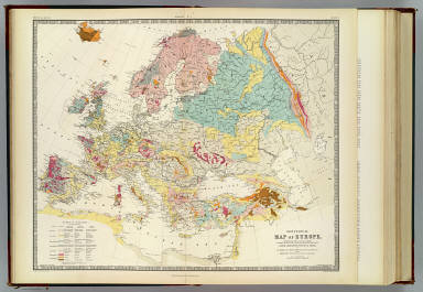 Geological map of Europe, exhibiting the different systems of rocks according to the most recent researches and unedited materials, for Keith Johnston's Physical atlas, by Sir Roderick I. Murchison, D.C.L., M.A., F.R.S., F.R.S.E. & c. and James Nicol, F.R.S.E., C.S., prof. of Nat. Hist., University of Aberdeen. Engraved & printed in colours by W. & A.K. Johnston, Edinburgh. William Blackwood & Sons, Edinburgh & London. (1856)