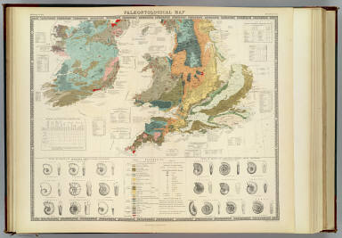Palaeontological map (British Islands. By A.K. Johnston, F.R.G.S. From the sketches & notes of Professor Edward Forbes, F.R.S. of Kings College London & of the Government School of Mines, President of the Geological Society). Engraved by W. & A.K. Johnston. William Blackwood & Sons, Edinburgh & London. 1st March 1854, (1856)