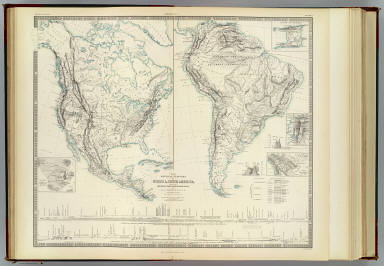 The physical features of North & South America, showing the mountains, table-lands, plains & slopes. By A.K. Johnston, F.R.S.E. with original sections by H.D. Rogers. Engraved & printed by W. & A.K. Johnston. William Blackwood & Sons, Edinburgh & London. (1856)