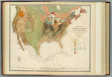 Geological map of the United States and British North America, constructed from the most recent documents & unpublished materials, for Keith Johnston's Physical atlas by Professor H.D. Rogers, Boston, U.S., 1855. Engraved & printed in colours by W. & A.K. Johnston. William Blackwood & Sons, Edinburgh & London. (1856)