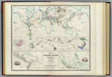The phenomena of volcanic action showing the regions visited by earthquakes and the distribution of volcanoes over the globe. With corrections and additions, to 1854, by A.K. Johnston, F.R.S.E. Engraved by W. & A.K. Johnston. William Blackwood & Sons, Edinburgh & London. (1856)