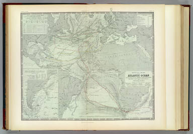 Physical chart of the Atlantic Ocean showing the form & direction of the currents, distribution of heat at the surface, navigation & trade routes, banks, rocks &c. by A.K. Johnston, F.R.S.E. Engraved by W. & A.K. Johnston. William Blackwood & Sons, Edinburgh & London. (1856)